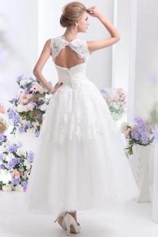 Robe de mariée A-ligne Col ras du Cou Sans Manches Taille Naturel
