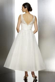 Robe de mariée Longueur Mollet Informel De plein air Satin Milieu