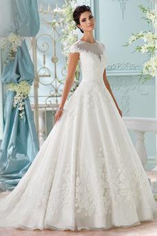 Robe de mariée Automne Zip Col ras du Cou Tissu Dentelle Mode de Bal