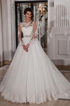 Robe de mariée Princesse Printemps Col ras du Cou De plein air Manche Longue