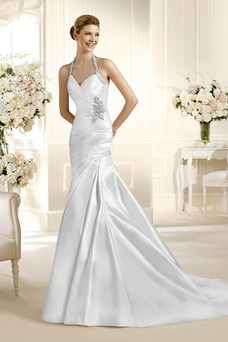 Robe de mariée Sans Manches Zip Taille Naturel Avec voile Cristal