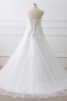 Robe de mariée Tissu Dentelle Col en Cœur Rectangulaire Traîne Longue