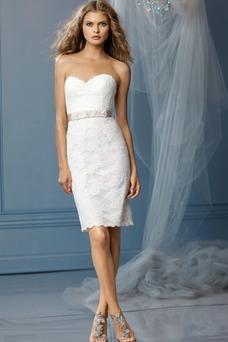 Robe de mariée Tissu Dentelle Glamour Dos nu Longueur Genou Fourreau