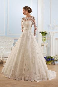 Robe de mariée Vintage Milieu Taille Naturel Manche Longue Appliques