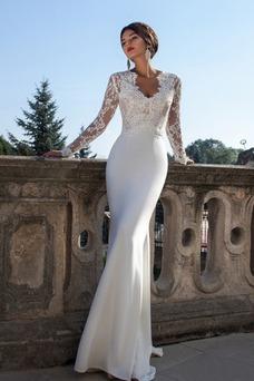 Robe de mariée Tissu Dentelle Sirène Chic Col en V Taille Naturel