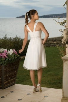 Robe de mariée Sans Manches Mousseline Zip Triangle Inversé De plein air