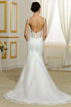 Robe de mariée Dos nu Satin Appliques Sirène Elégant Traîne Courte