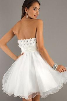 Robe de bal Courte Taille Naturel A-ligne Perle Organza Romantique