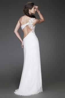 Robe de soirée Dos nu Mousseline Glamour Épaule Asymétrique Printemps