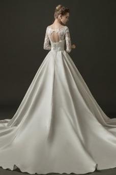Robe de mariée Printemps Trou De Serrure 3/4 Manche Col en V Taille Naturel