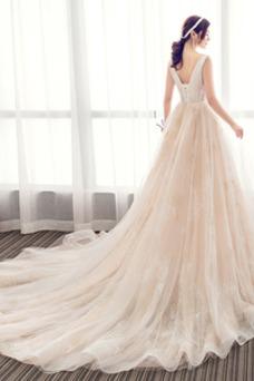 Robe de mariée Sans Manches A-ligne Taille Naturel Col en V Appliques