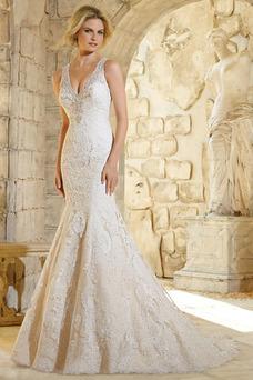 Robe de mariée Sirène Zip Tissu Dentelle Taille Naturel Col en V Sans Manches
