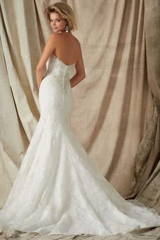 Robe de mariée Tissu Dentelle Salle Col en Cœur Sirène Taille Naturel