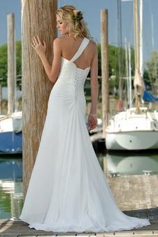Robe de mariée Mousseline Fleurs Printemps Épaule Asymétrique A-ligne