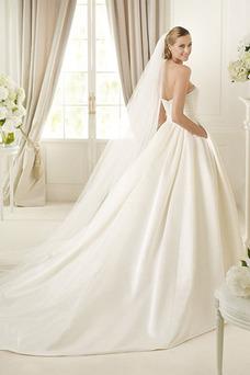 Robe de mariée Taille Naturel Longue Automne Bustier Perle Zip