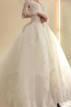 Robe de mariée Tulle Princesse Épaule Dégagée Luxe Salle Longue