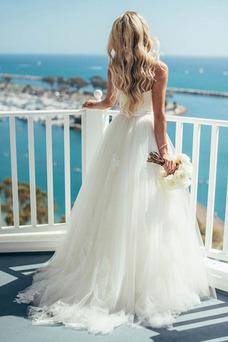 Robe de mariée Romantique Taille Naturel Traîne Courte Plage Ceinture en Étoffe