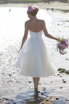 Robe de mariée Plissé Mode de Bal Sans Manches Taille Naturel Été