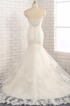 Robe de mariée Hiver Sirène Tulle Col en Cœur Taille Naturel Longue
