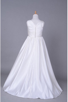 Robe cérémonie fille Ruché Salle Blanche Fourreau plissé Hiver Taille Empire