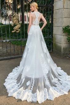 Robe de mariée Plage Gaze Longue Dentelle Printemps Couvert de Dentelle
