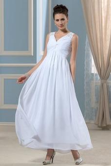 Robe de mariée Empire Sans Manches Plissé Taille Empire Longueur Cheville