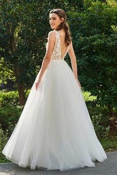 Robe de mariée Tulle Dos nu Sans Manches Appliques Orné de Rosette