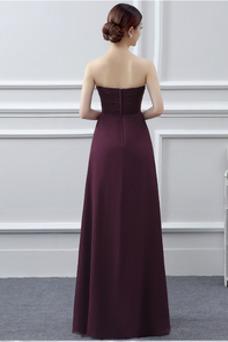Robe demoiselle d'honneur Sans Manches Bustier Hiver Fourreau plissé Mousseline
