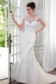 Robe de mariée Sirène Printemps Tissu Dentelle Sans Manches Longue