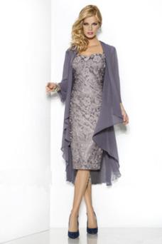 Robe mère de mariée Dentelle 2 Pièces Avec la veste Manche Longue Haute Couvert