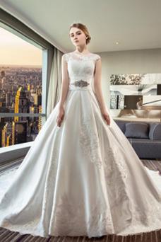 Robe de mariée Tissu Dentelle Taille Naturel Sans Manches Appliques