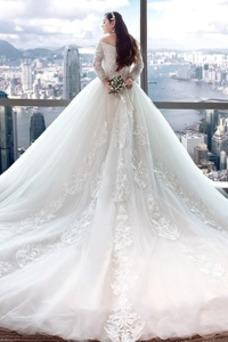 Robe de mariée Printemps Satin Taille Naturel Manche de T-shirt Appliques