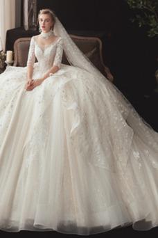 Robe de mariée Poire Taille Naturel A-ligne Formelle Col U Profond