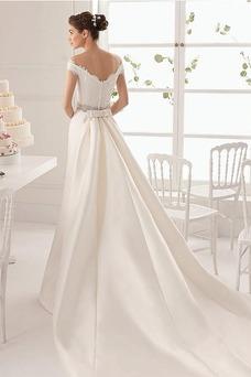Robe de mariée Tissu Dentelle Taille Naturel A-ligne Manquant Manche Courte