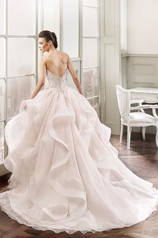 Robe de mariée Sans Manches Col en Cœur Zip Traîne Courte Taille Naturel