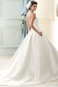 Robe de mariée Dos nu Satin Bustier Bouton Eglise Longue