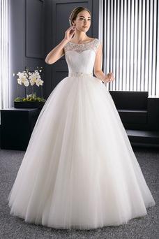 Robe de mariée Mode de Bal Sans Manches Perles Formelle Traîne Courte