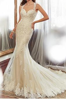 Robe de mariée Sirène Printemps Chic Plage Sans Ceinture Sans Manches
