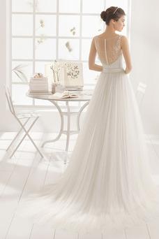 Robe de mariée Haute Couvert Ceinture en Étoffe Col Bateau Taille Naturel