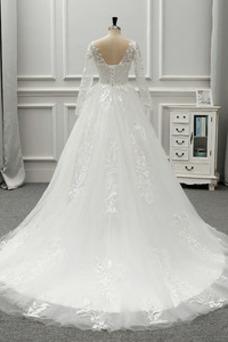 Robe de mariée Ruché Traîne Longue Automne Taille Naturel Col ras du Cou
