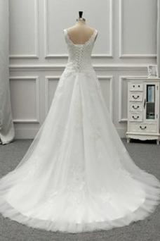Robe de mariée Tissu Dentelle Taille Naturel Larges Bretelles Printemps