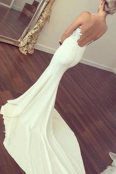 Robe de mariée Sirène Sans Manches Manquant Col en V Foncé Elégant