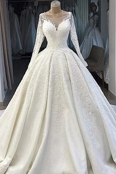 Robe de mariée Hiver Manche Longue Sablier Couvert de Dentelle Gaze