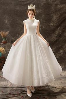 Robe de mariée Taille Naturel Zip Satin Manquant Longueur Cheville