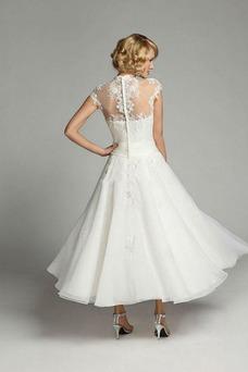 Robe de mariée Zip Organza Appliques Taille Naturel Longueur Mollet