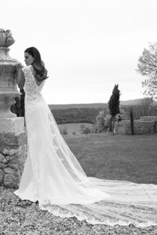 Robe de mariée Tulle Taille Naturel Fourreau Dentelle Col en V Traîne Panneau