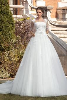 Robe de mariée Mode de Bal Col Carré Tulle Manche Aérienne Elégant