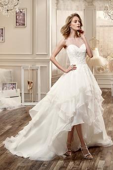 Robe de mariée Asymétrique Milieu Sans Manches Traîne Mi-longue Col Bateau