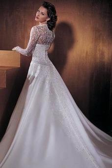 Robe de mariée Taille chute Broderie Taffetas Argent Eglise Traîne Mi-longue