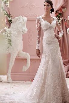 Robe de mariée Appliques Tissu Dentelle Sirène Chic Manche Aérienne